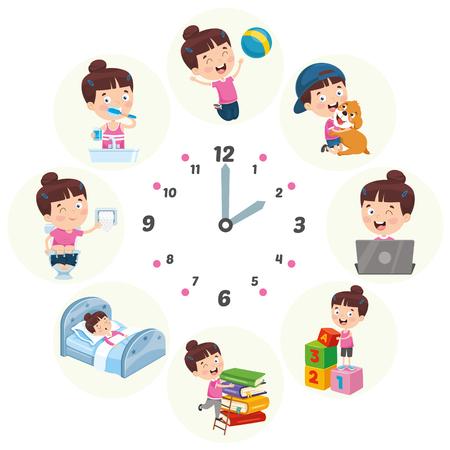 Illustrazione di vettore delle attività sistematiche quotidiane dei bambini Vettoriali