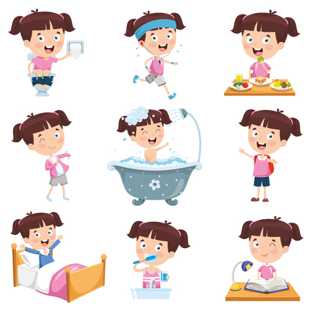 Cartoon Girl Doing Various Activities 일러스트