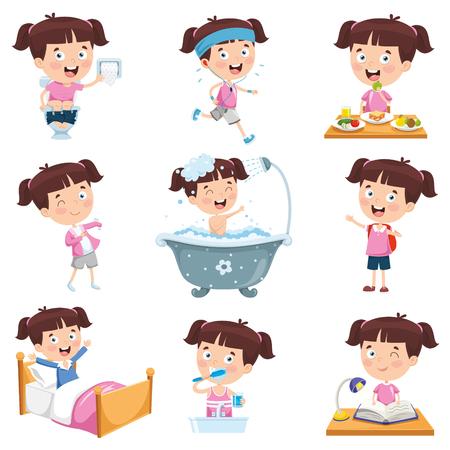 Chica de dibujos animados haciendo diversas actividades Ilustración de vector
