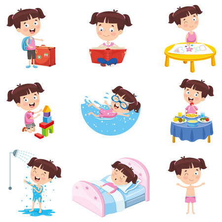 Cartoon Girl Doing Various Activities Vettoriali