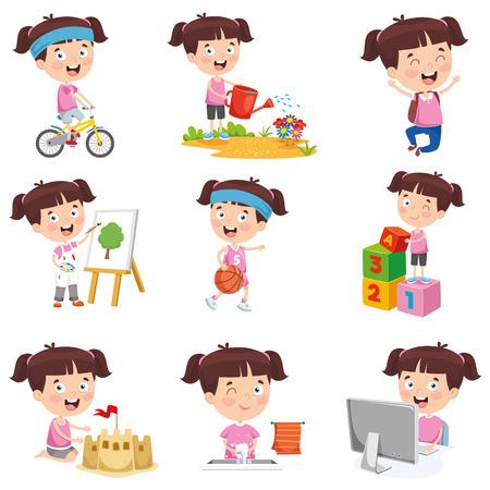 Chica de dibujos animados haciendo diversas actividades