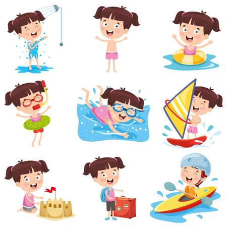 Cartoon Girl Doing Various Activities Vectores