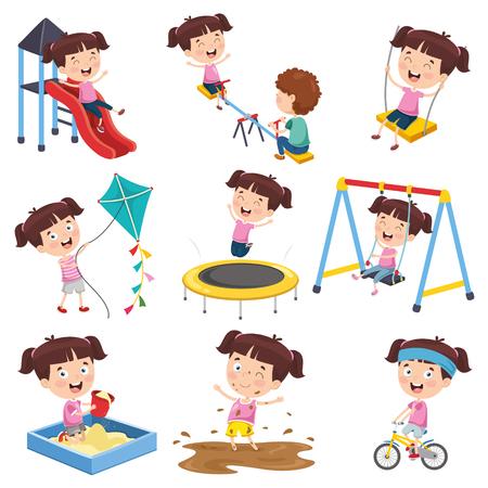 Cartoon meisje doet verschillende activiteiten