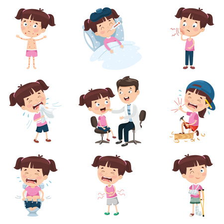Cartoon Girl Doing Various Activities Çizim