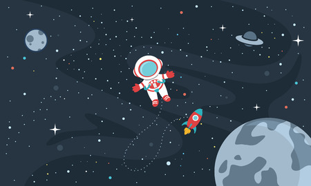 Vector Illustration Of Space Background Vettoriali