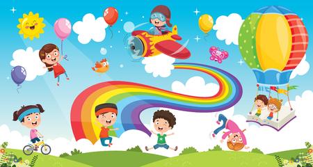 Illustration vectorielle des enfants arc-en-ciel Vecteurs