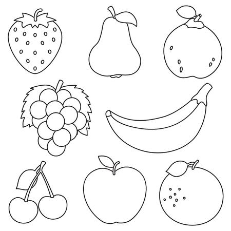 Illustrazione vettoriale di frutta da colorare Vettoriali