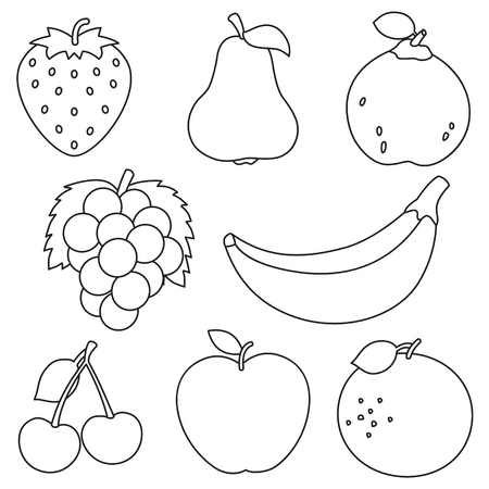Vector Illustration Of Fruits Coloring Page