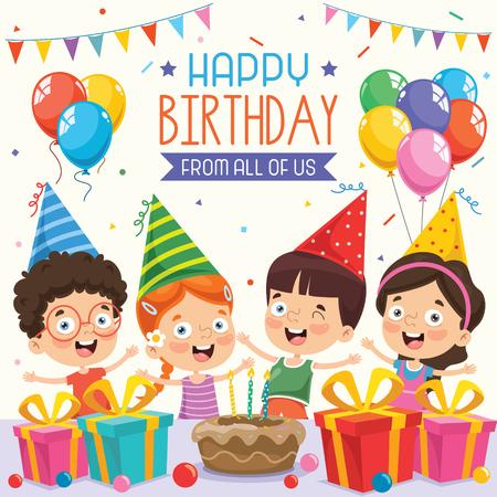 Illustration vectorielle pour la fête d'anniversaire des enfants
