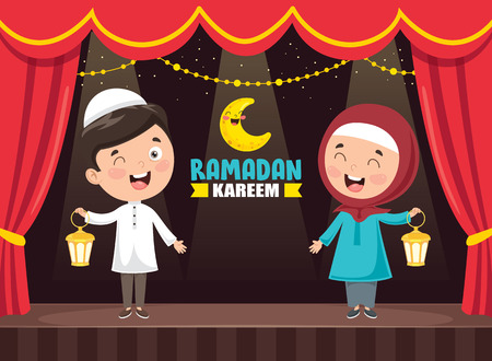Vector Illustration Of Muslim Kids Celebrating Ramadan Ilustrace