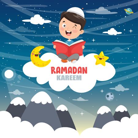 Vector Illustration Of Muslim Kids Celebrating Ramadan Ilustrace