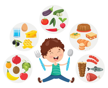 Illustration vectorielle du concept de nourriture pour enfants