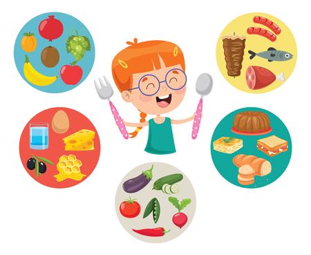 Ilustracja wektorowa koncepcji żywności dla dzieci