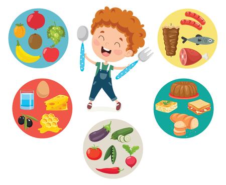 Vector Illustration Of Children Food Concept Vecteurs