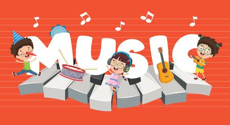 Vector Illustration Of Children Music Background