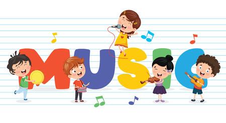 Illustrazione vettoriale di musica per bambini in sottofondo