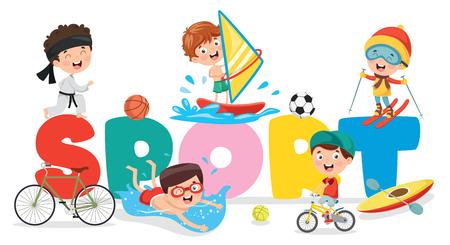 Ilustración de vector de fondo de deporte de niños Ilustración de vector