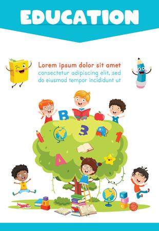 Ilustración de vector de educación infantil