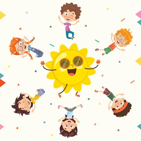 Vector Illustration Of Summer Children