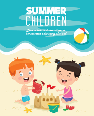 Vector Illustration Of Summer Children