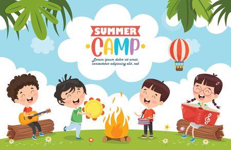 Vector Illustration Of Summer Camp Kids