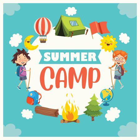 Vector Illustration Of Kids Summer Camp
