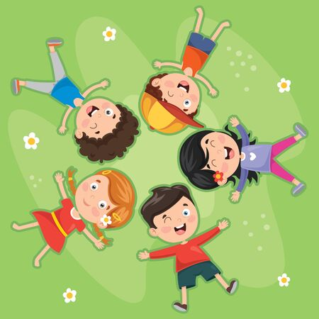 Vector Illustration Of Children Lying On Grass
