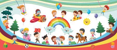 Vector Illustration Of Kids Landscape