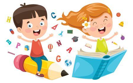 Vector Illustration Of Children Education