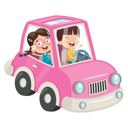 Children Travelling With A Funny Car Banque d'images - 130899962