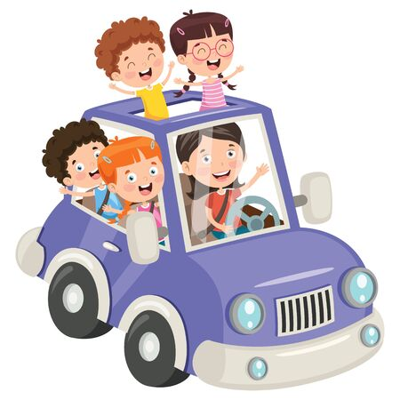 Children Travelling With A Funny Car Banque d'images - 130899978