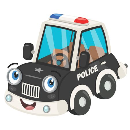 Funny Cartoon Police Car Posing Banque d'images - 130899977