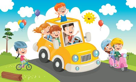 Children Travelling With A Funny Car Banque d'images - 130899971