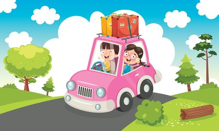 Children Travelling With A Funny Car Banque d'images - 130899974