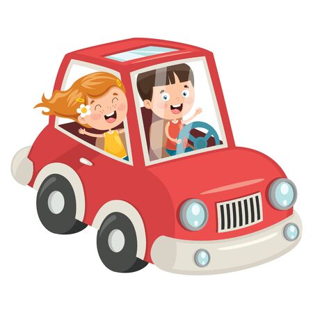 Children Travelling With A Funny Car Banque d'images - 130899972