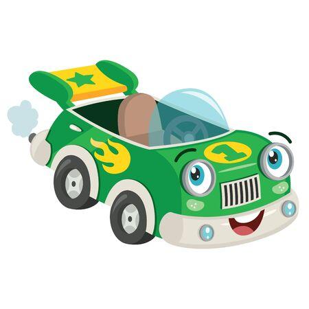 Funny Green Racing Car Posing