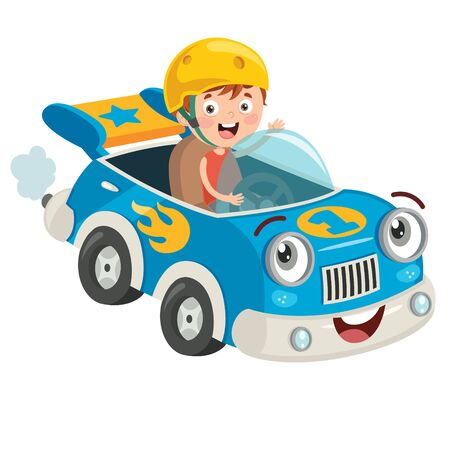 Child Racing With Funny Car