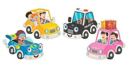 Children Using Various Colorful Cars Çizim
