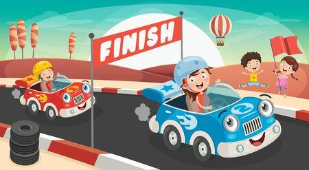 Dzieci ścigają się z zabawnymi samochodami