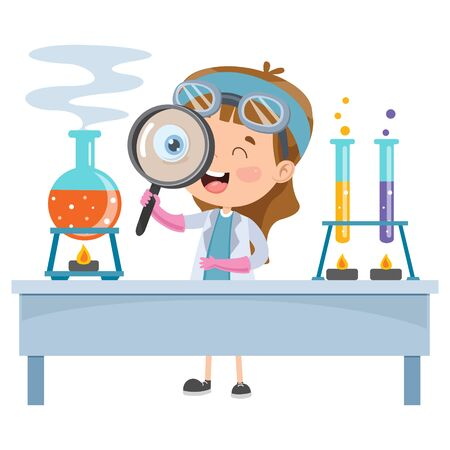 Little Student Doing Chemical Experiment