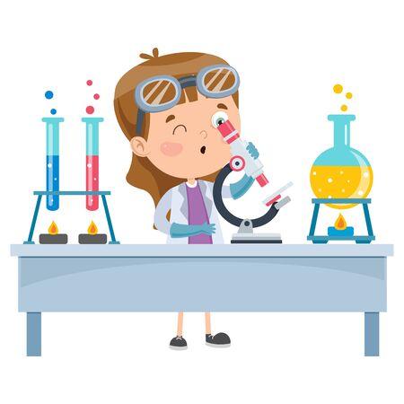 Pequeño estudiante haciendo experimento químico