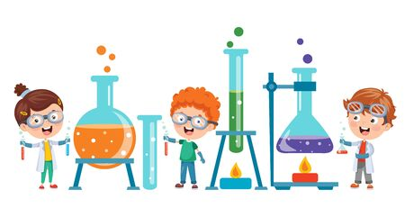 Little Students Doing Chemical Experiment