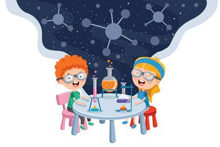 Pequeños estudiantes haciendo experimentos químicos