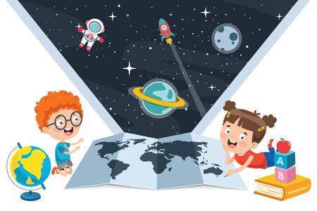Little School Children Studying Geography Illustration