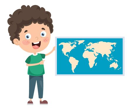 Little School Child Studying Geography Illustration