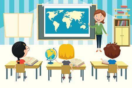 Kleine schoolkinderen die aardrijkskunde studeren