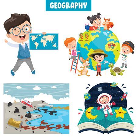 Little School Children Studying Geography