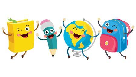 Little School Equipmens Smiling And Dancing Illustration