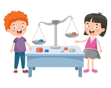 Little Students Using Scales Of Justice Illustration