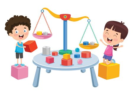 Little Students Using Scales Of Justice Vector Illustration